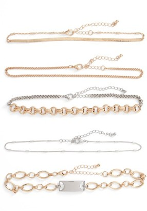 Women's Leith 5-Pack Mixed Metal Chokers $35 thestylecure.com