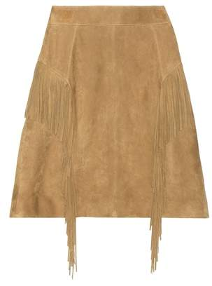 Saint Laurent Fringed suede miniskirt