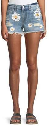 7 For All Mankind Cutoff Denim Shorts w/ Destroy & Daises
