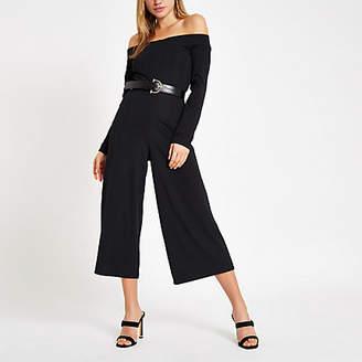 River Island Womens Black rib bardot wide leg jumpsuit