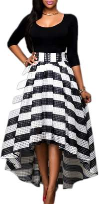 Mupoduvos Women Elegant Stripes 3/4 Sleeve Belted High Low Fit And Flare Prom Dress 3XL