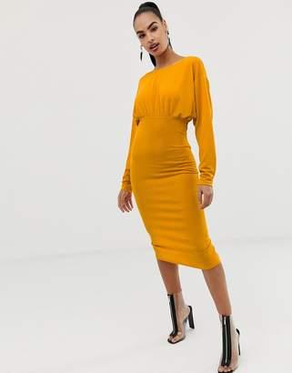 e481721601 Asos Design DESIGN deep v tie back midi dress