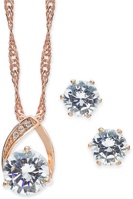 Charter Club Rose Gold-Tone 2 Pc. Set Crystal Teardrop Pendant Necklace and Stud Earrings
