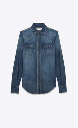 Saint Laurent Western Shirt In Denim