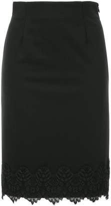 Loveless lace scallop hem pencil skirt