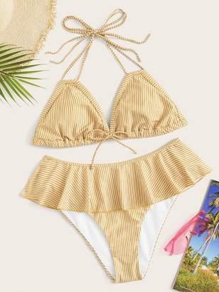 Shein Plus Striped Halter Top With Ruffle Trim Bikini Set