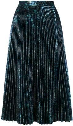 Prada pleated metallic skirt