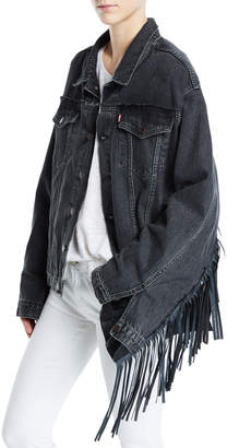 Vetements Leather-Fringe Trim Denim Jacket