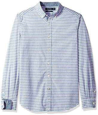 Nautica Men's Standard Long Sleeve Horizontal Stripe Button Down Shirt