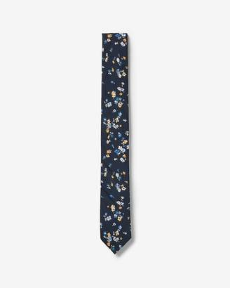 Express Slim Blue Floral Print Liberty Fabric Cotton Tie