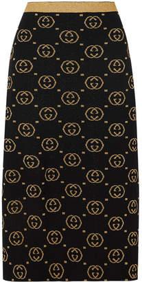 Gucci Metallic Intarsia Wool-blend Midi Skirt - Black