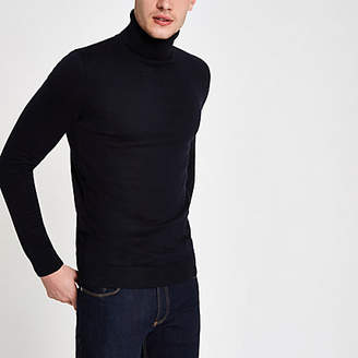 River Island Navy knit slim fit roll neck sweater