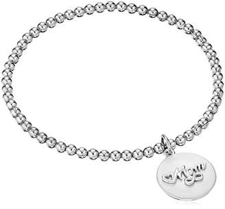 """Sterling Diamond Accent """"A Mother's Love Is Forever"""" Stretch Bead Charm Bracelet"""