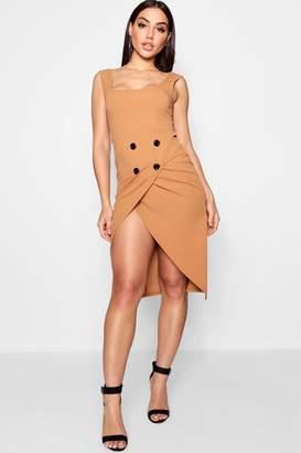 boohoo Wrap Button Skirt Midi Dress