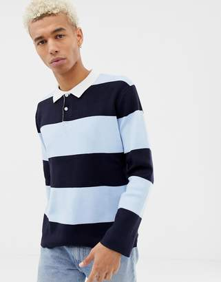 Pull&Bear rugby shirt in blue stripe