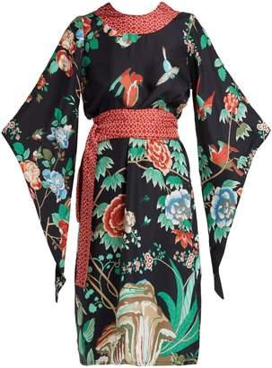 D'ASCOLI Kimono-sleeve belted silk midi dress