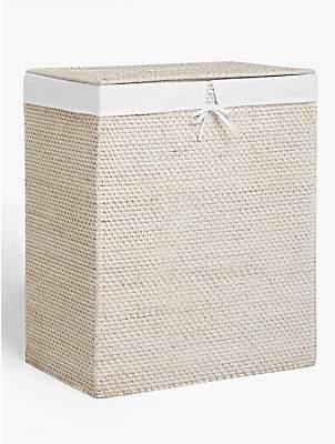John Lewis & Partners White Rattan Double Laundry Basket