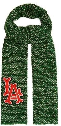 Gucci La Angels Appliqued Tweed Scarf - Womens - Green