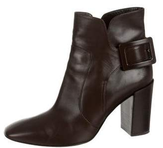 Roger Vivier Leather Squared-Toe Ankle Boots