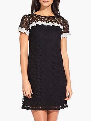 Adrianna Papell Ditsy Floral Lace Dress, Black