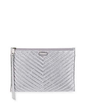 Rebecca Minkoff Large Quilted Metallic Zip Clutch Bag