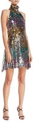 Halpern Sequined Halter Midi Dress