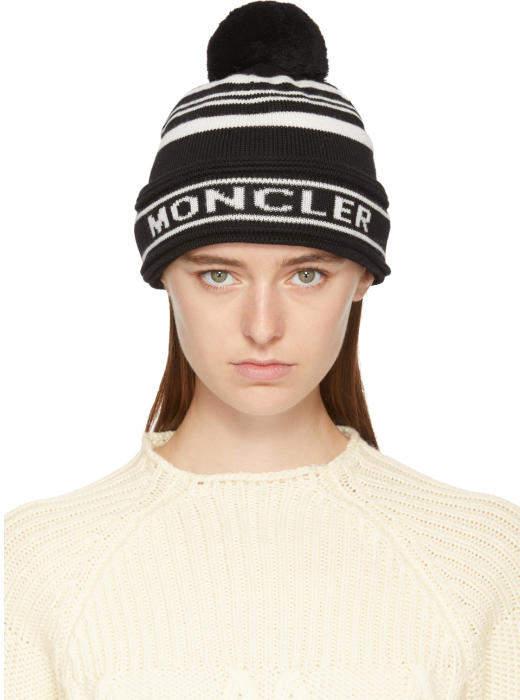 Moncler Black Intarsia Logo Beanie