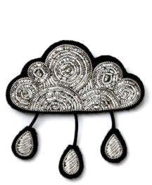 Macon & Lesquoy Hand Embroidered Rain Cloud Brooch Silvery