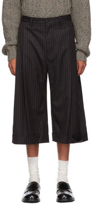 Chin Mens Black Striped Cropped Culotte Trousers