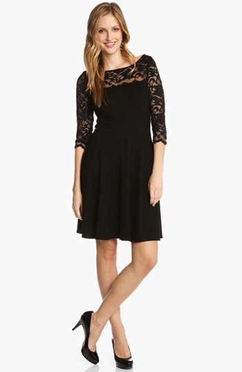 Karen Kane Lace Sleeve Fit & Flare Dress
