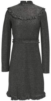 Maje Ruffle-Trimmed Metallic Stretch-Knit Mini Dress