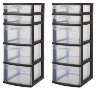 Sterilite 5 Drawer Tower, Black (Available in Case of 2 or Single Unit)