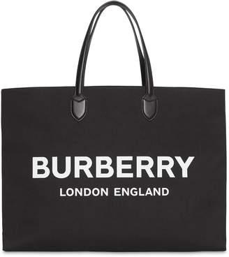Burberry Logo Cotton Tote Bag
