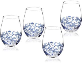 Spode Blue Italian Stemless Wine Glasses, Set of 4