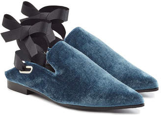 Robert Clergerie X Self-Portrait Lubat Velvet Mules with Self-Tie Ribbon Straps