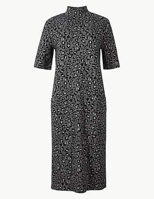 M&S Collection Animal Print Short Sleeve Shift Midi Dress