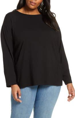 Eileen Fisher Side Pocket Organic Cotton Blend Top