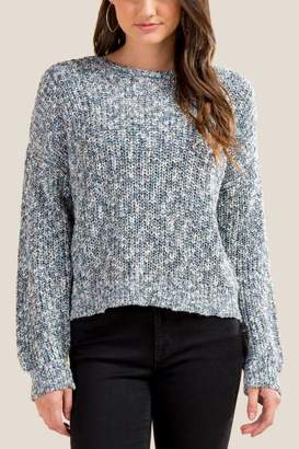 francesca's Skyler Lurex Twisted Sweater - Blue
