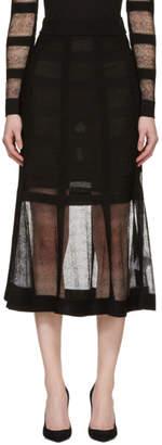 Alexander McQueen Black Panelled Mesh and Rib Skirt