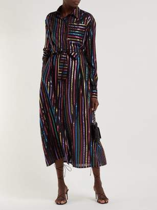 ATTICO The Metallic Striped Fil Coupe Shirtdress - Womens - Black Multi