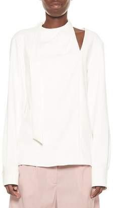 b24f747d1d65c Tibi Draped Tie-Neck Long-Sleeve Top w  Shoulder Cutout