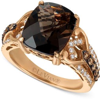 LeVian Le Vian Chocolatier with Chocolate Quartz (4-1/2 ct. t.w.) and Diamond (1/2 ct. t.w.) Ring in 14k Rose Gold