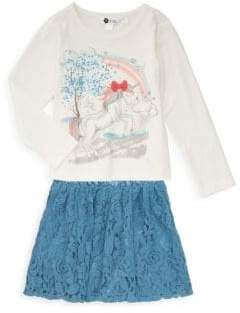 Petit Lem Little Girl's Two-Piece Unicorn Top & Lace Skirt Set