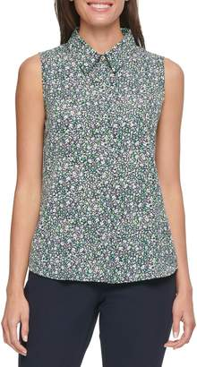 Tommy Hilfiger Floral Half-Placket Sleeveless Top