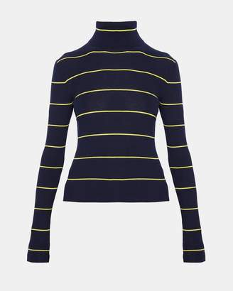 Theory Striped Long-Sleeve Crop Turtleneck