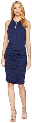 Vince Camuto Sleeveless Ruched Halter Keyhole Dress Women's Dress