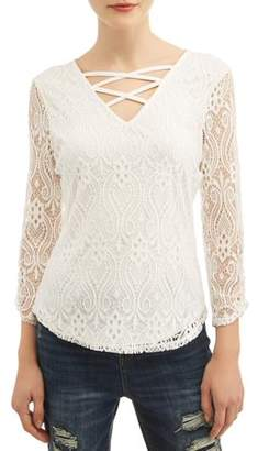 No Boundaries Juniors' All Over Lace Caged V-Neck Long Sleeve T-Shirt