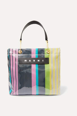 Marni Grip Medium Leather-trimmed Pvc And Striped Canvas Tote - Pink