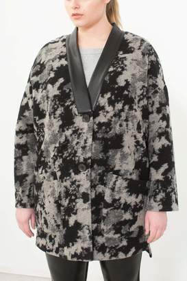See Rose Go Kimono Cardigan in Abstract Camo Size 3 Wool/Polyester/Vegan Leather