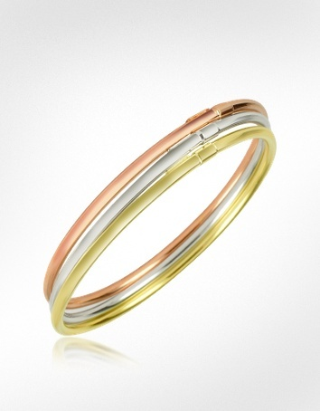 Forzieri Three-tone 18K Gold Triple Bangle Bracelet